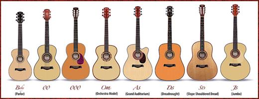 Acoustci Guitar Sizes, Types, Colors